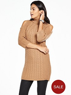 v-by-very-cold-shoulder-cable-knit-front-polo-neck-tunic