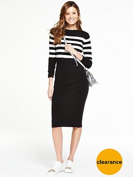 v-by-very-knitted-stripe-midi-dress