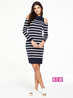 v-by-very-cut-out-shoulder-knitted-striped-dress