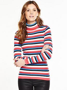 v-by-very-stripe-skinny-rib-roll-neck-jumper