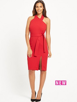 rochelle-humes-halter-neck-fitted-dress