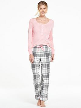 v-by-very-woven-pant-and-henley-top-pyjama-set
