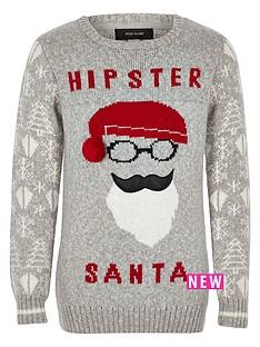river-island-boys-grey-hipster-santa-christmas-jumper