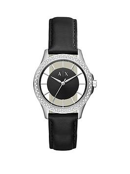 armani-exchange-black-dial-stone-bezel-black-leather-strap-ladies-watch