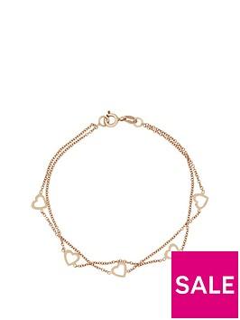 love-silver-sterlingnbspsilver-with-rose-gold-plating-2-row-heart-bracelet