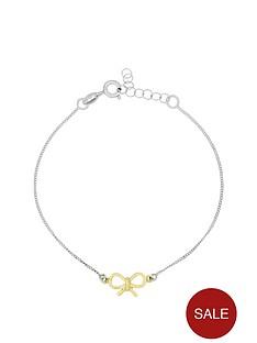 love-silver-sterlingnbspsilver-gold-plated-bow-bracelet