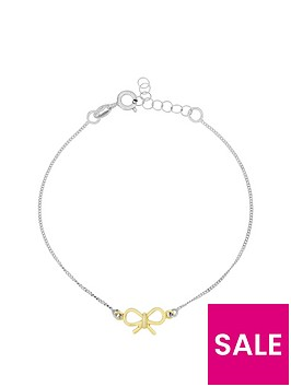 the-love-silver-collection-sterlingnbspsilver-gold-plated-bow-bracelet