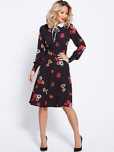 myleene-klass-button-front-printed-tea-dress-black
