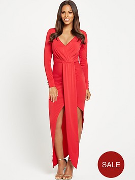rochelle-humes-plunge-neck-long-sleeved-maxi-dress