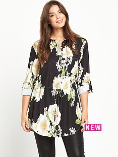 so-fabulous-curve-printed-tab-sleeve-shirt-black-base-floral