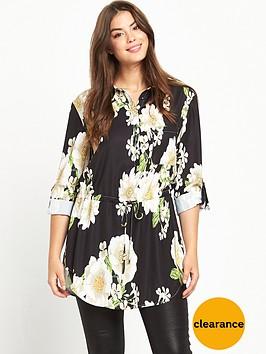 so-fabulous-curve-printed-tab-sleeve-shirt-black-base-floral