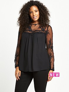 so-fabulous-curve-lace-sleeve-and-yoke-blouse-black