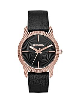 diesel-bitty-black-dial-rose-tone-case-leather-strap-ladies-watch