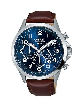 lorus-lorus-blue-sunray-dial-chronograph-brown-leather-strap-ladies-watch