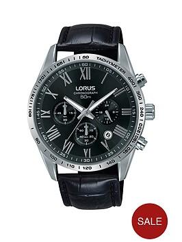 lorus-black-dial-chronograph-black-leather-strap-mens-watch