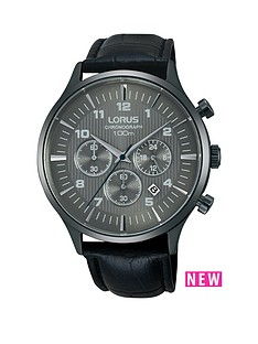 lorus-carbonised-titanium-chronograph-black-leather-strap-mens-watch