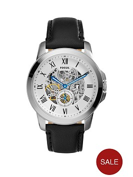 fossil-fossil-mechanical-grant-white-dial-black-leather-strap-mens-watch