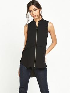 river-island-zip-front-sleeveless-blouse-black