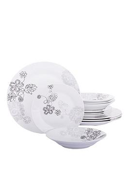graphite-flower-12-piece-dinner-set