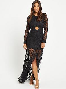 rochelle-humes-fishtail-maxi-dress-black