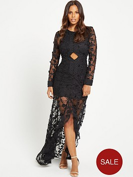 rochelle-humes-fishtail-maxi-dress-black