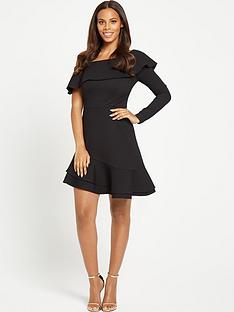 rochelle-humes-asymmetric-one-sleeved-dress-black