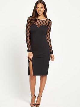 rochelle-humes-spot-mesh-bodycon-dress-black