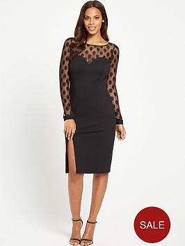 rochelle-humes-spot-mesh-bodycon-dress-black