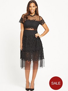 rochelle-humes-spot-mesh-midi-dress-black