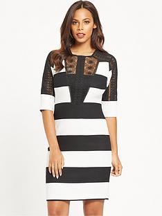 rochelle-humes-mono-stripe-dress-with-lace-detailnbspinserts