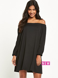 river-island-river-island-long-sleeve-black-bardot-swing-dress