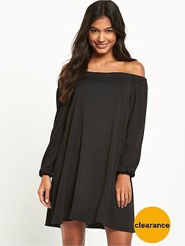 river-island-river-island-long-sleeve-black-bardot-swing-dress