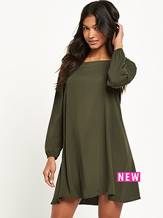 river-island-river-island-long-sleeve-khaki-bardot-swing-dress