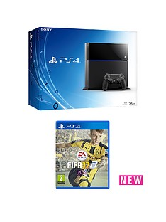 playstation-4-500gb-black-console-with-fifa-17-with-optional-extra-dualshock-controller-and-365-day-psn-subscription