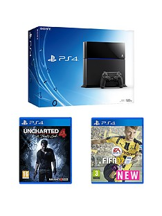 playstation-4-500gb-black-console-with-fifa-17-and-uncharted-4-a-thiefs-end-with-optional-extra-dualshock-controller-and-365-day-psn-subscription