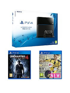 playstation-4-1tb-black-console-with-fifa-17-and-uncharted-4-a-thiefs-end-with-optional-extra-dualshock-controller-and-365-day-psn-subscription