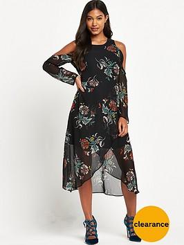 river-island-floral-cold-shoulder-midi-dress