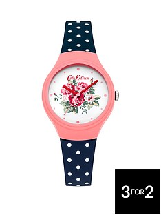 cath-kidston-cath-kidston-spray-flowers-off-white-floral-printed-dial-navy-polka-dot-silicone-strap-ladies-watch