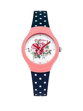 cath-kidston-cath-kidston-spray-flowers-off-white-floral-printed-dial-navy-polka-dot-silicone-strap-ladies-watch