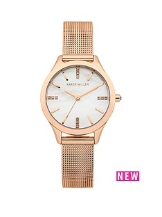 karen-millen-karen-millen-mother-of-pearl-dial-rose-gold-stainless-steel-mesh-strap-ladies-watch