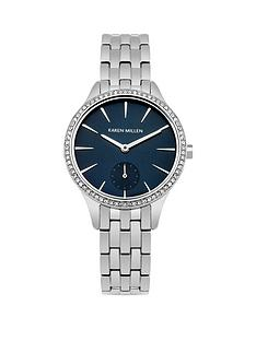 karen-millen-karen-millen-deep-blue-sunray-dial-stainless-steel-bracelet-ladies-watch
