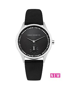 french-connection-french-connection-louisa-black-dial-diamond-crystals-black-leather-strap-ladies-watch