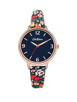 cath-kidston-cath-kidston-mews-ditsy-navy-dial-multi-colour-printed-fabric-strap-ladies-watch