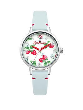 cath-kidston-cath-kidston-strawberries-photo-print-dial-blue-leather-strap-ladies-watch