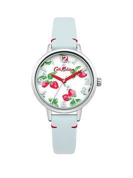cath-kidston-cath-kidston-strawberries-photo-print-dial-blue-leather-strap-ladies-watch