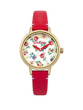 cath-kidston-cath-kidston-linen-sprig-photo-print-dial-red-leather-strap-ladies-watch