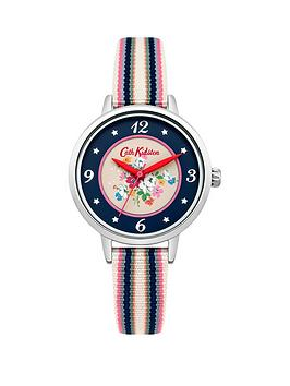 cath-kidston-cath-kidston-clifton-rose-navy-printed-dia-multi-colour-fabric-strap-ladies-watch