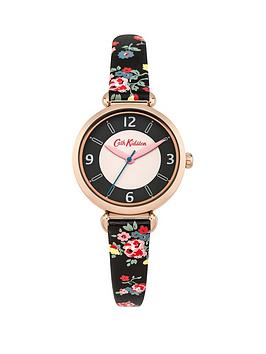 cath-kidston-cath-kidston-kew-sprig-cream-dial-black-floral-printed-fabric-strap-ladies-watch