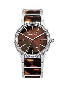 karen-millen-karen-millen-brown-mother-of-pearl-dial-stainless-steel-tortoise-shell-effect-bracelet-ladies-watch