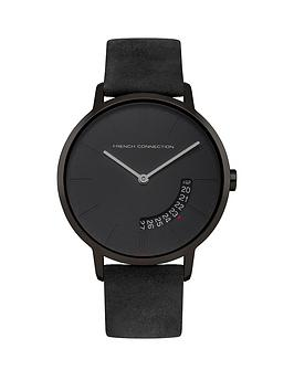 french connection mens watches gifts jewellery very co uk french connection french connection newgate black dial grey leather strap mens watch